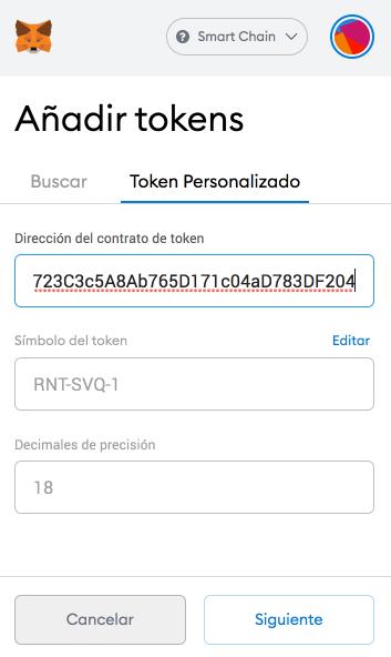 Pega la dirección del contrato de tokens en la pestaña de token personalizado de Smart Chain