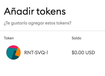Pulsa en añadir tokens para añadirlos a tu monedero de criptomonedas