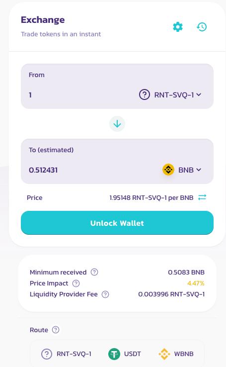 compra y vende tokens inmuebles en el pool de liquidez de Binance Smart Chain